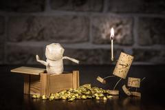 Wine cork figures, concept mummy in a tomb Stock Photos