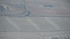Aerial view of wind turbines in the San Gorgonio Pass Stock Footage