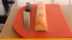 Salmon fish roulade recipe  Stock Footage