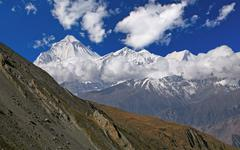 Dhaulagiri Peak Clouds - stock photo
