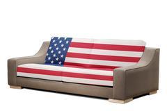 Modern sofa with usa flag (clipping path ) Stock Photos