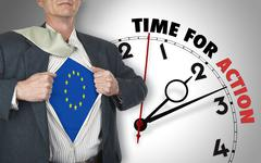 Businessman showing shirt with flag from europe suit against clock Stock Illustration