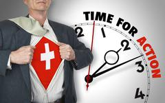 Businessman showing shirt with flag from switzerland suit against clock Stock Illustration