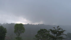 Heavy rains in an open hilly forest Stock Footage