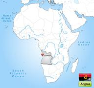 Map of angola with main cities in gray Stock Illustration