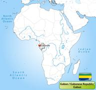 Stock Illustration of map of gabon with main cities in gray