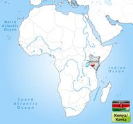 map of kenya with main cities in gray - stock illustration
