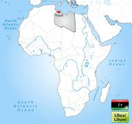 map of libya with main cities in gray - stock illustration