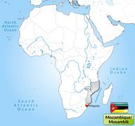 Map of mozambique with main cities in gray Stock Illustration