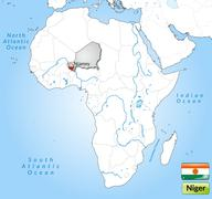 map of niger with main cities in gray - stock illustration