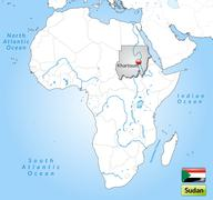 Stock Illustration of map of sudan with main cities in gray