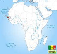 map of senegal with main cities in gray - stock illustration