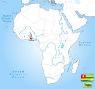 map of togo with main cities in gray - stock illustration