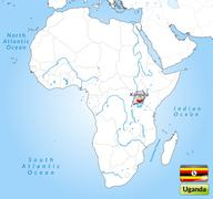 map of uganda with main cities in gray - stock illustration