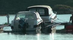 2 speedboats moored. Stock Footage