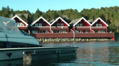 Cabins by the waterside Stock Footage