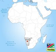 map of namibia with main cities in gray - stock illustration