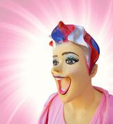 funny mannequin with open mouth on abstract backrgound - stock illustration