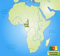 map of cameroons with main cities in green - stock illustration