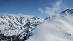 aerial view of snowcapped mountain panorama. winter landscape. alps glaciers - stock footage
