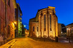 Facade of the church at early morning in alba. Stock Photos