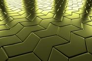 Stock Illustration of golden arrow blocks flooring diagonal perspective view
