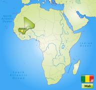 map of mali with main cities in green - stock illustration