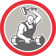 blacksmith striking at barbell with sledgehammer retro - stock illustration