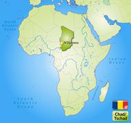Map of chad with main cities in green Stock Illustration