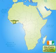 map of ivory coast with main cities in green - stock illustration
