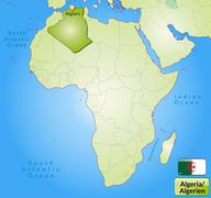 map of algeria with main cities in green - stock illustration
