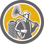 Chimney sweeper worker retro Stock Illustration