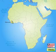 Map of liberia with main cities in green Stock Illustration