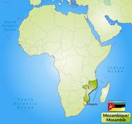 Map of mozambique with main cities in green Stock Illustration