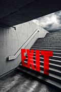 exit on urban staircase in underground passage - stock illustration
