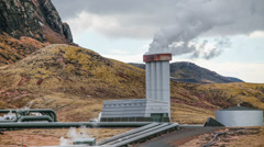 Stock Video Footage of Geothermal electricity power station releasing steam, Iceland 4k