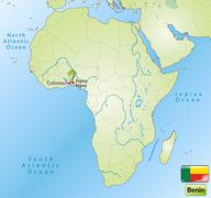 Map of benin with main cities in green Stock Illustration