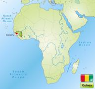 Map of guinea with main cities in green Stock Illustration
