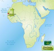 Map of mauritania with main cities in green Stock Illustration
