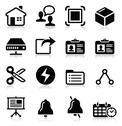 Web, internet vector black icons set Stock Illustration