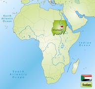 Stock Illustration of map of sudan with main cities in green
