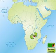 map of zambia with main cities in green - stock illustration