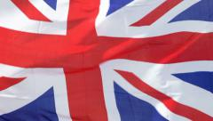 Union Jack flag blowing in the Wind - stock footage