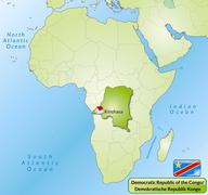 map of democratic republic of the congo with main cities in green - stock illustration
