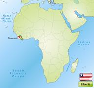 map of liberia with main cities in green - stock illustration