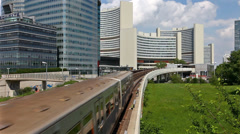 Time Lapse of the skyline Uno City Vienna with underground railway - stock footage