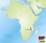 Stock Illustration of map of malawi with main cities in green