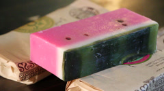 Watermelon Specialty Soap #2 (Custom Bar of Soap) Stock Footage