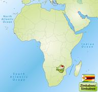 map of zimbabwe with main cities in green - stock illustration
