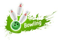 Stock Illustration of Skittles and ball for playing the bowling game